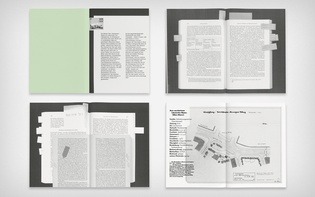 Four spreads with photocopied and scanned material