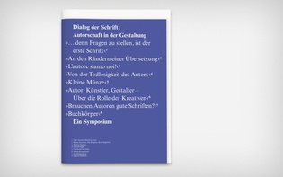 "Anthology and catalogue for the typography symposium ""Dialog der Schrift 2011"""