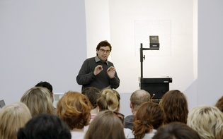 Poet Oswald Egger during his talk