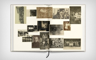 Spread showcasing dated photographs in chronological order