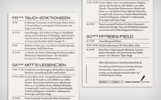 "Invitation card for ""Relations in Time,"" a three-day festival at Kunsthaus KuLe, Berlin"