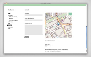 """Contact"" section with integrated map and contact form"